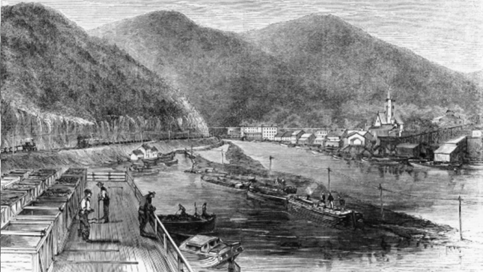 An 1820s lithograph of Mauch Chunk.