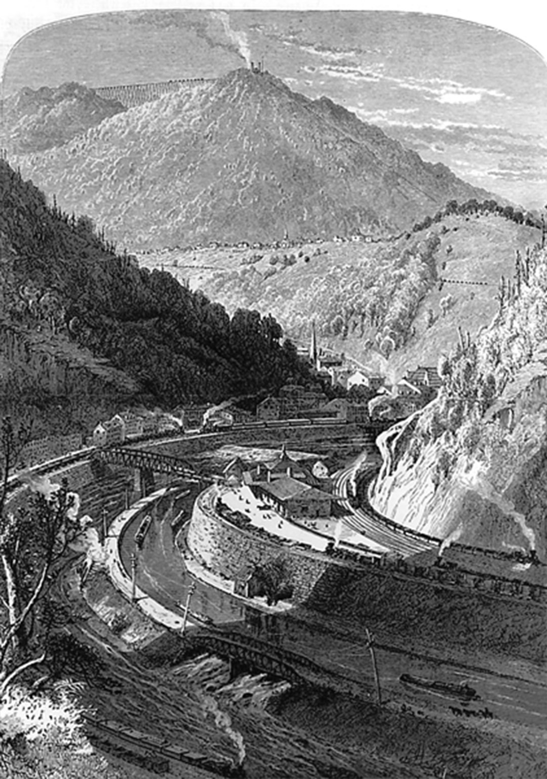 An 1860s lithograph of Mauch Chunk.