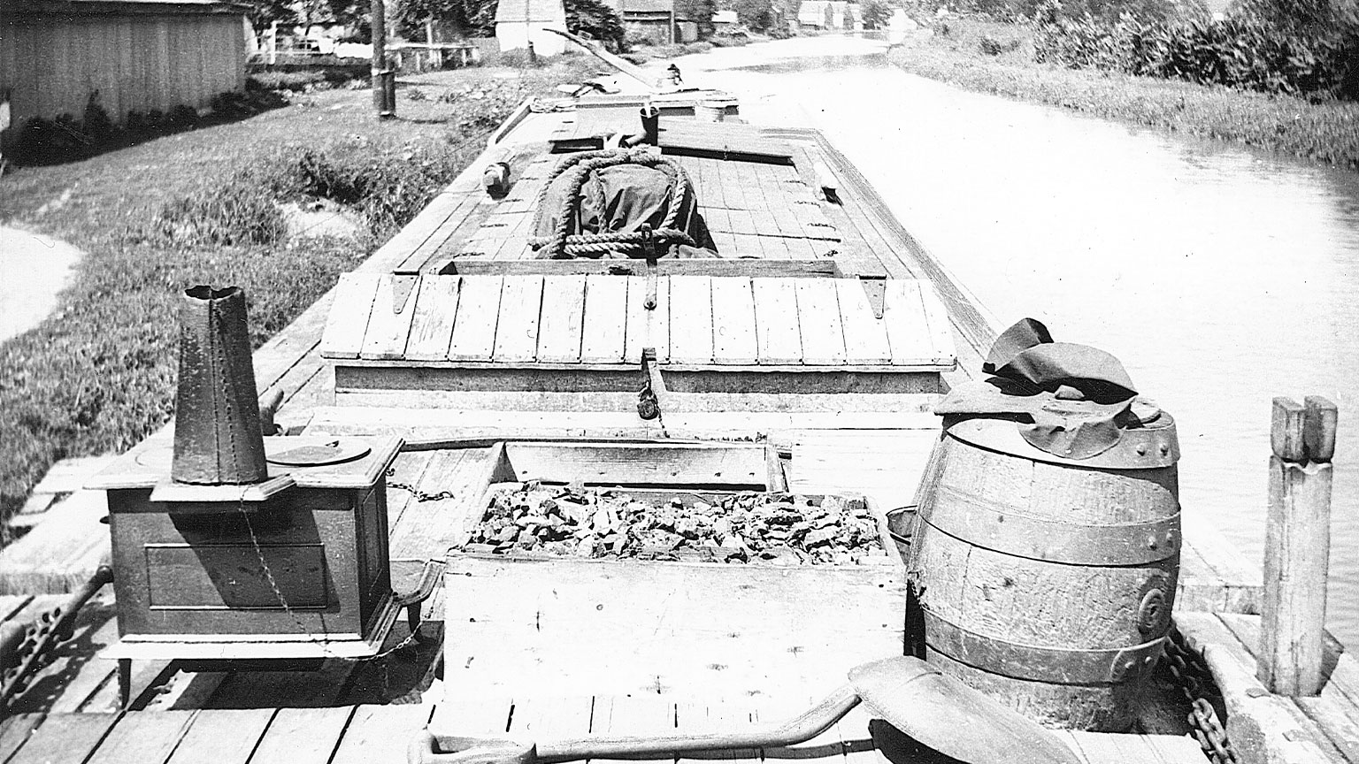 This view of a deck shows you what a deck looked like when the hatches were closed and supplies were loaded onto the deck.