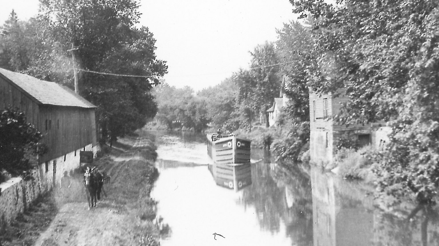 This is a beautiful picture of the canal, a canal boat and the mule team using the towpath near Riegelsville.