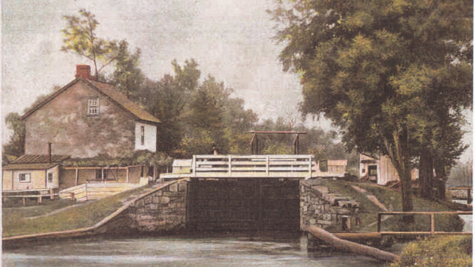 This postcard shows lock 43 in its heyday when it was well cared for and canal boats passed through its gates every day. This is what  the lock would have looked like when Finn locked through.