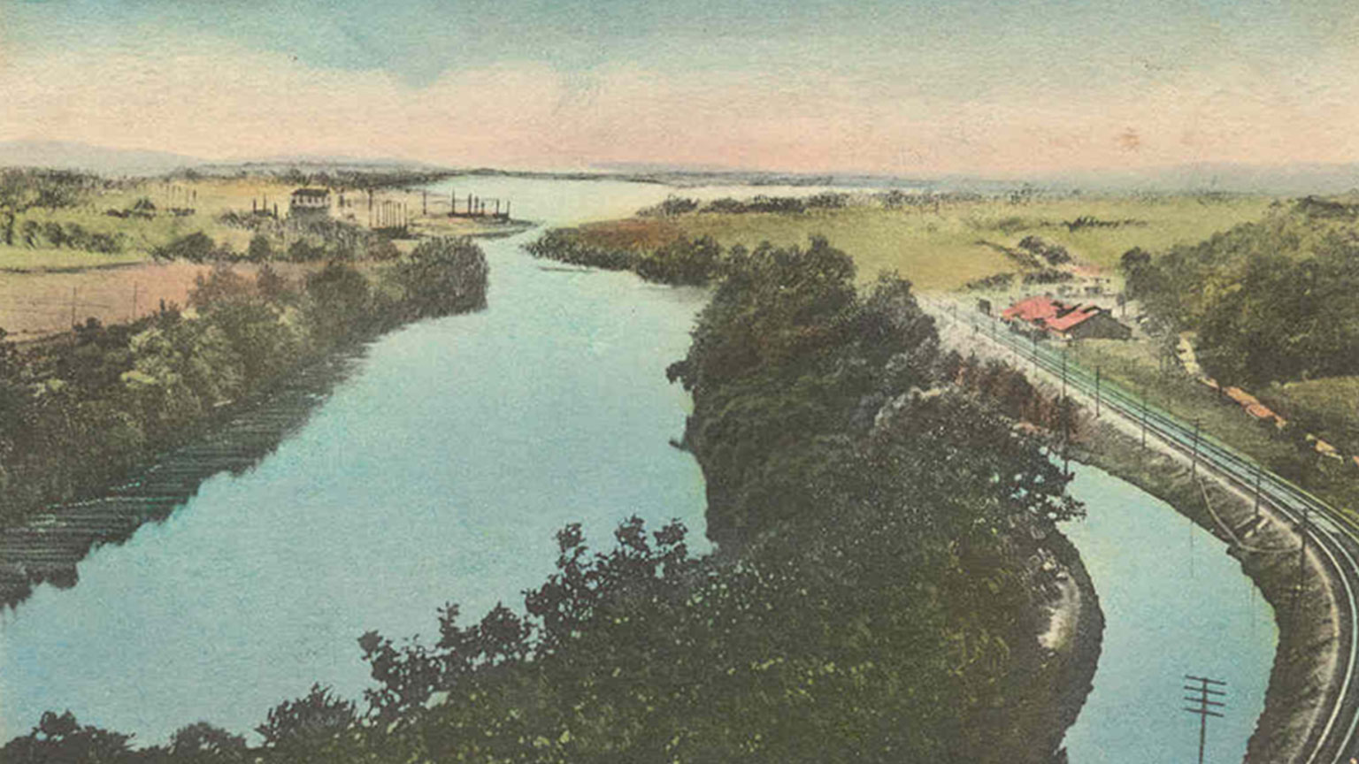 Color postcard of the Lehigh River and canal at Freemansburg.