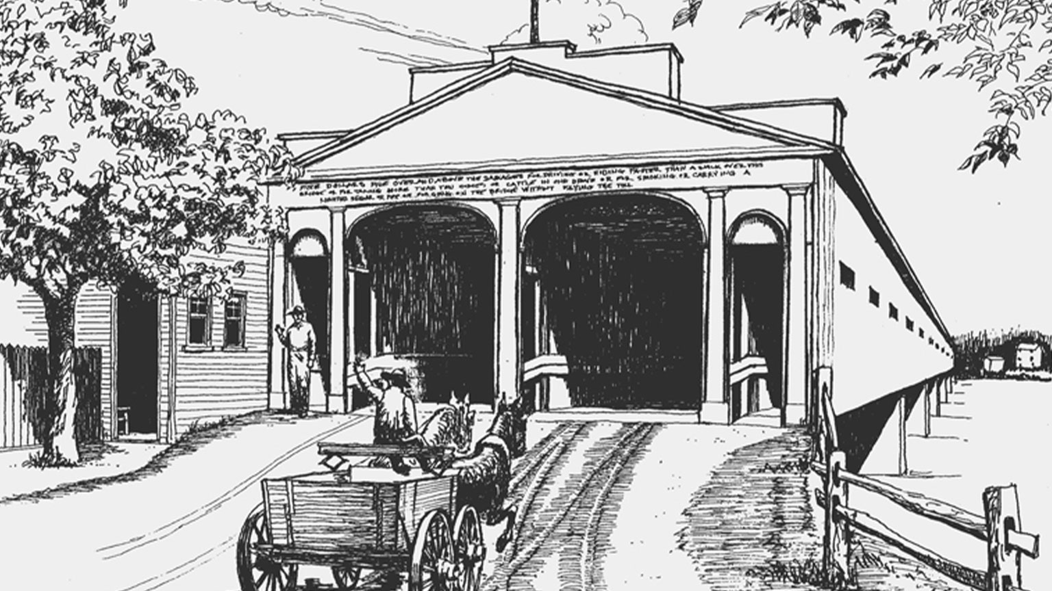 This is a drawing of the immense covered wooden bridge that onces linked New Hope, Pennsylvania and Lambertville, New Jersey.