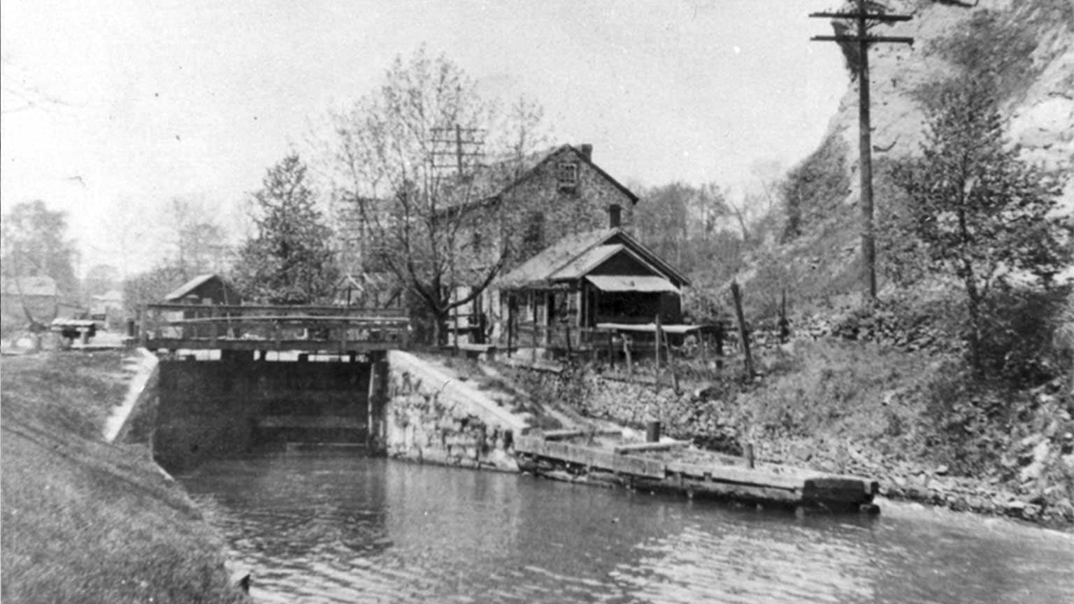 This is a picture of the lock tender house at lock 44 in Freemansburg.  This house still stands today and is part of our Educational Center.