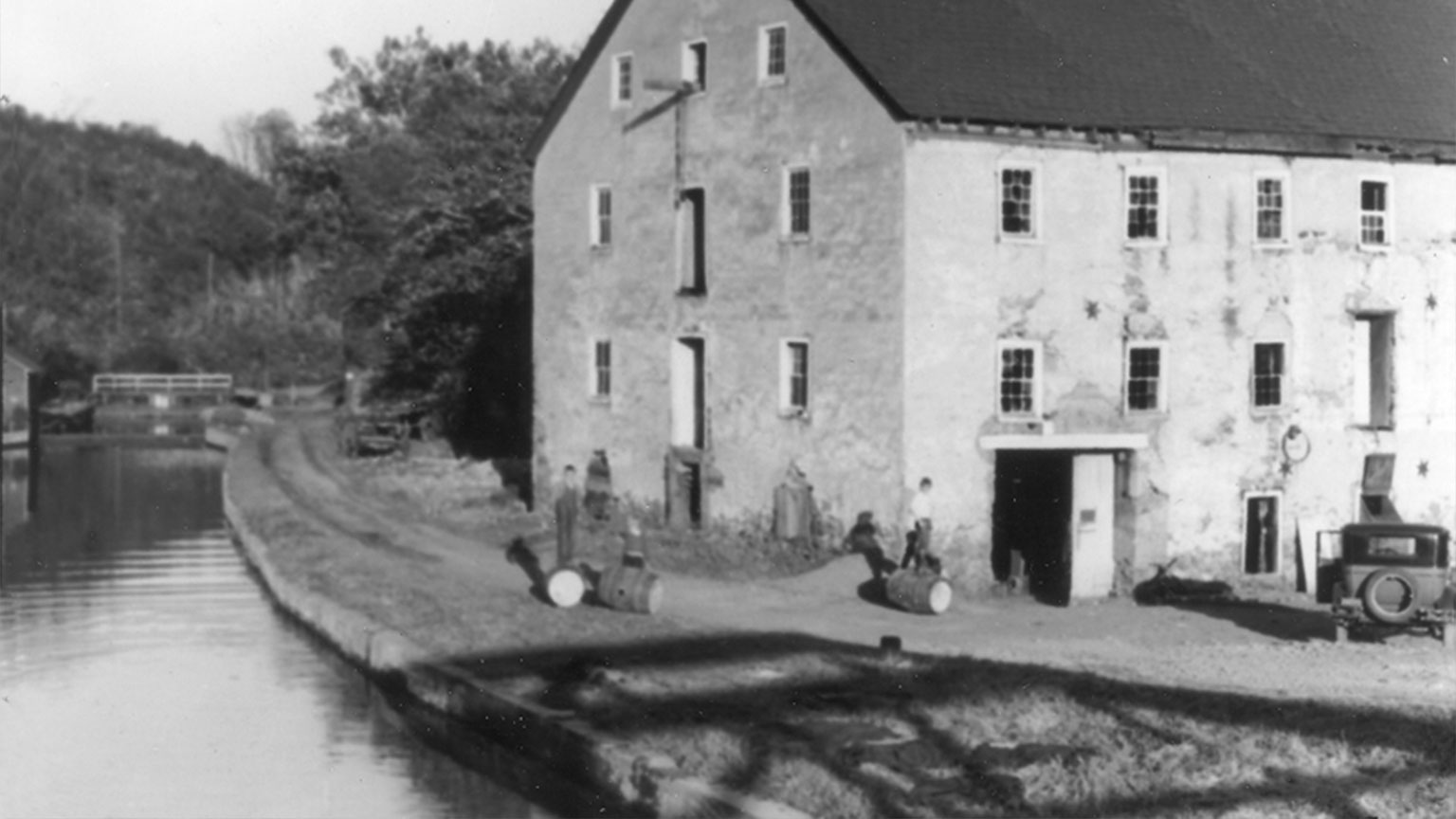 This mill no longer stands, but if you visit the tow path that runs by lock 44 you can still find some of its foundation poking up from the ground.