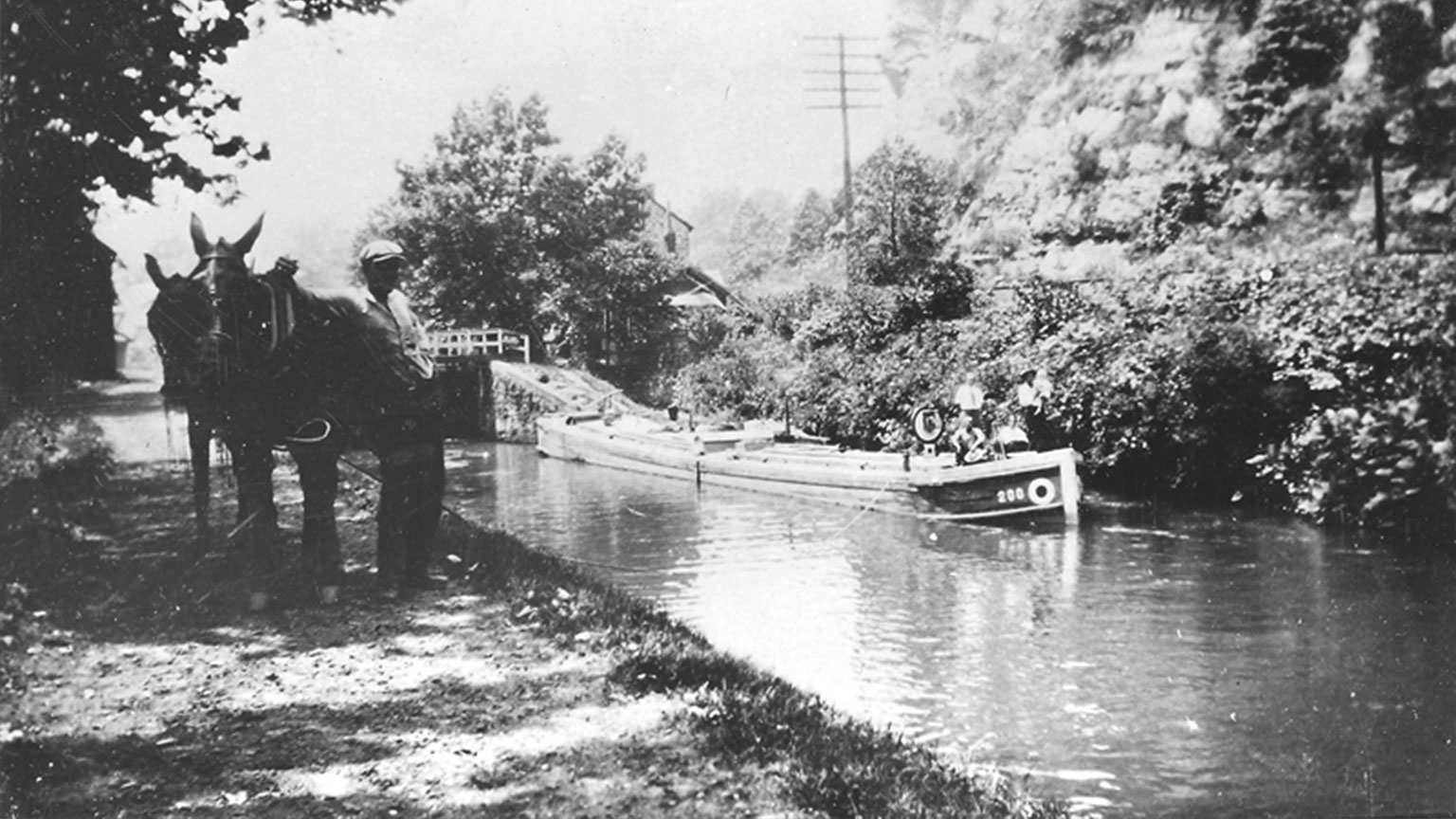 This picture is taken at the lock in Freemansburg.  It clearly shows the logo for LCNC as well as a hinge boat, mules and their mule tender waiting on the towpath.
