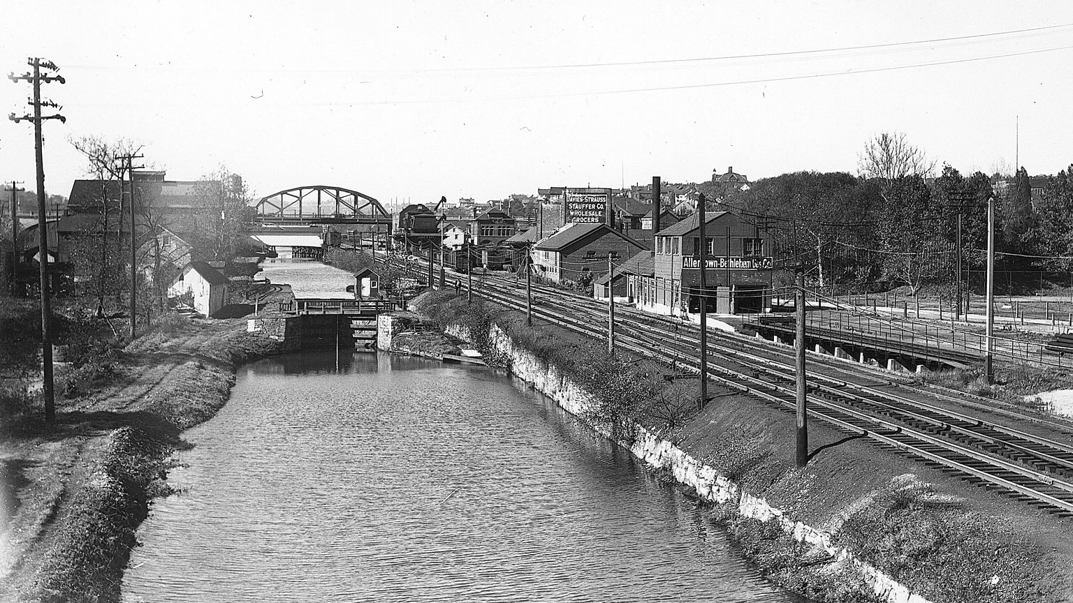 Railroads were built to follow canals because industry was built up along the canals.