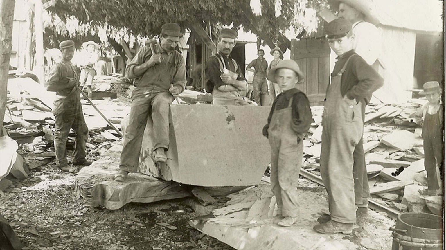 Notice both men and boys were slate cutters.  Slate was another resource that was transported in canal boats along the Lehigh River.