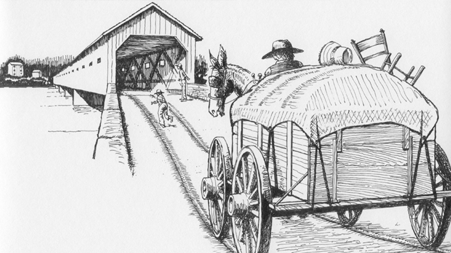 As the Gormans enter the covered bridge at Freemansburg they are ending one chapter of their life and starting the next.