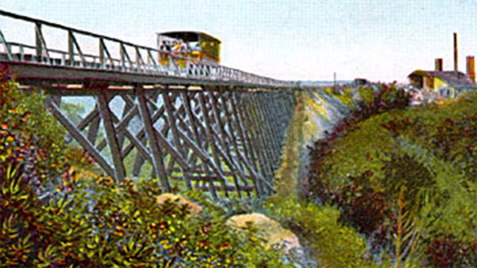 """This hand painted postcard shows the """"quieter"""" section of the ride."""