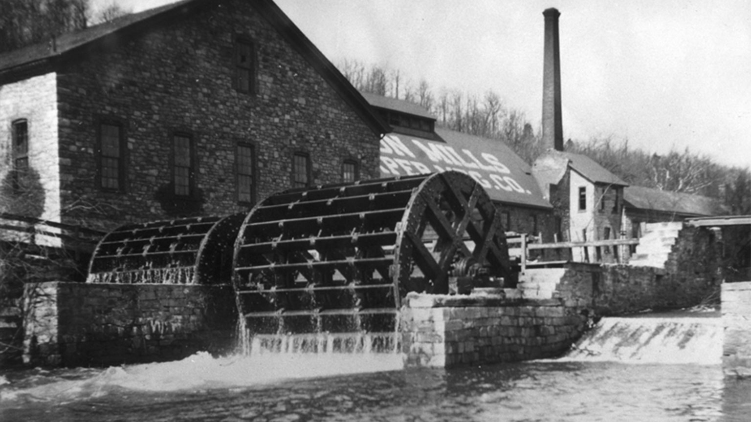 These large water wheels provided water power to mills.