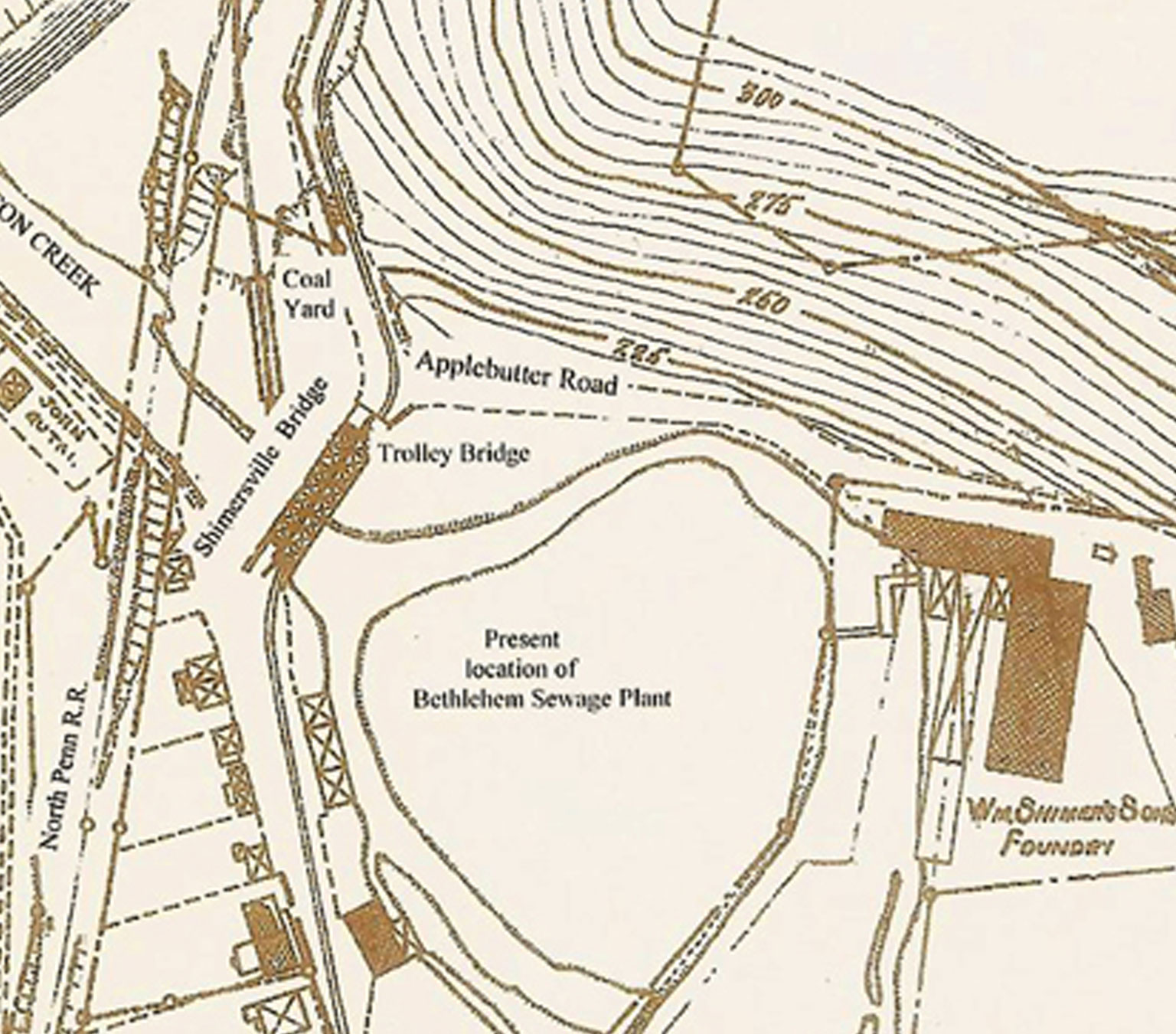 This map shows what Shimersville was like in 1900 but also gives you some current landmarks such as the sewage treatment plant to help orient you.