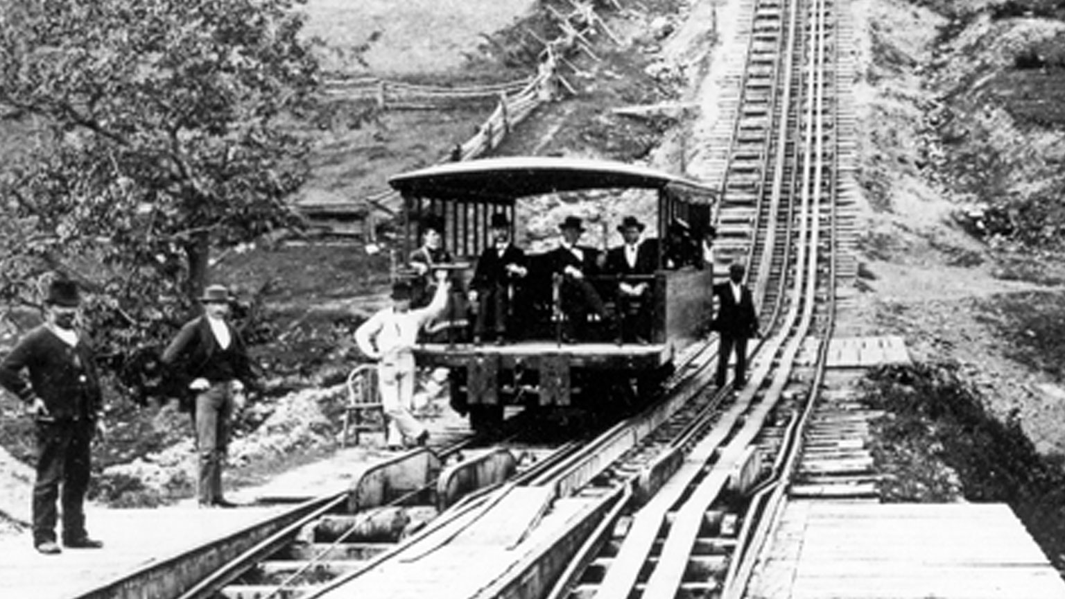 Business men ride the Switchback RR.