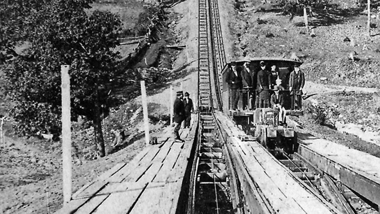 Coal miners ride the Switchback RR.